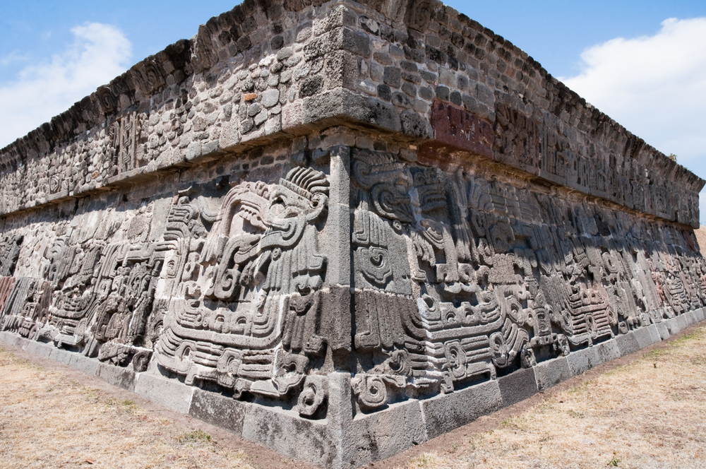 details of the ancient Temple of the Feathered Serpent