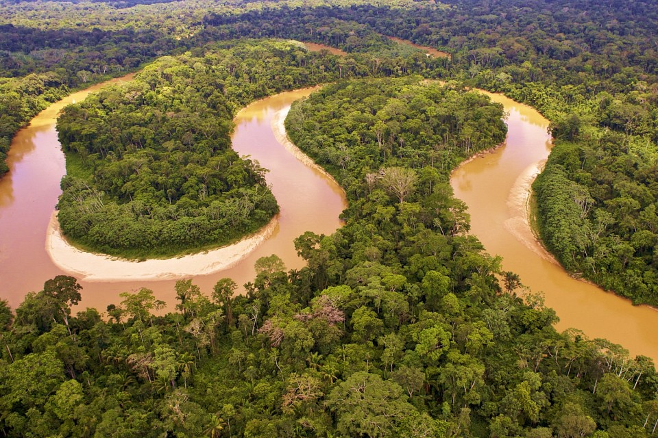aerial view over the Amazon river.