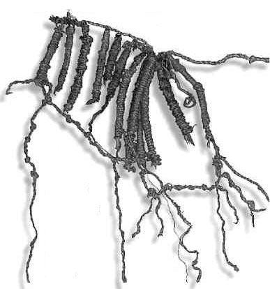 quipu made of alpaca and llama hairs