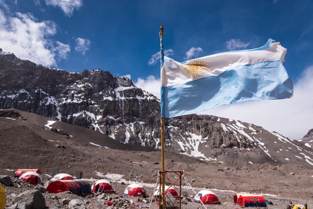 Argentina flag at Plaza de Argentina, a base camp of Mt.Aconcagua, Argentina