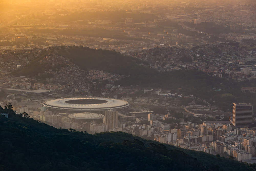 Rio Olympics; aeriel view over the city of rio and the olympic stadion