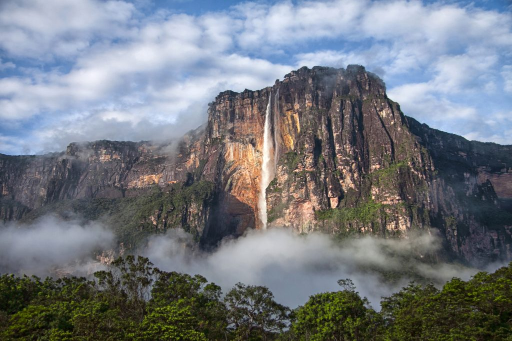 Angels falls in Venezuela, huge fall from rock into the forest