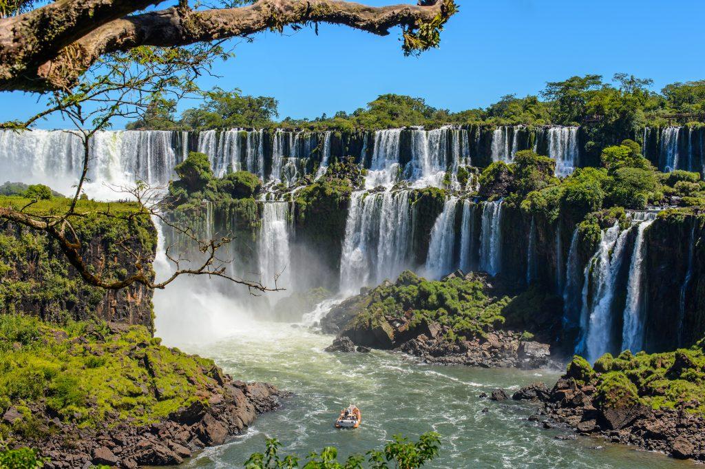 big waterfalls iguazu in brazil. View from Argentina