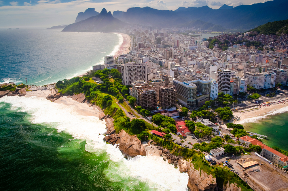 aerial view over the beach in rio brazil