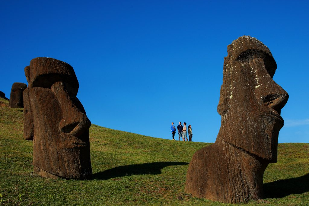 statues of faces on easter island
