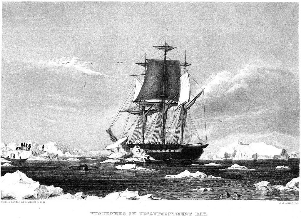 the ship of Wilkes in Antarctica in black and white