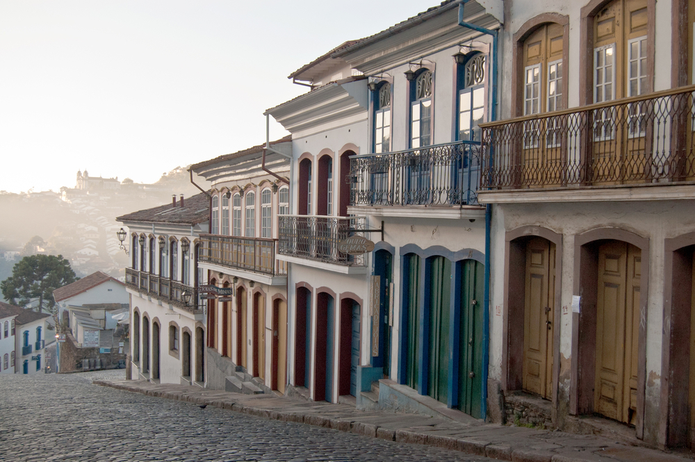 colonial houses in street in brazil