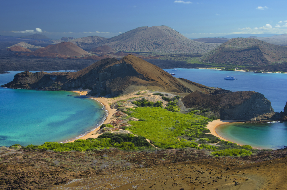 view over galapagos island with beaches and forest