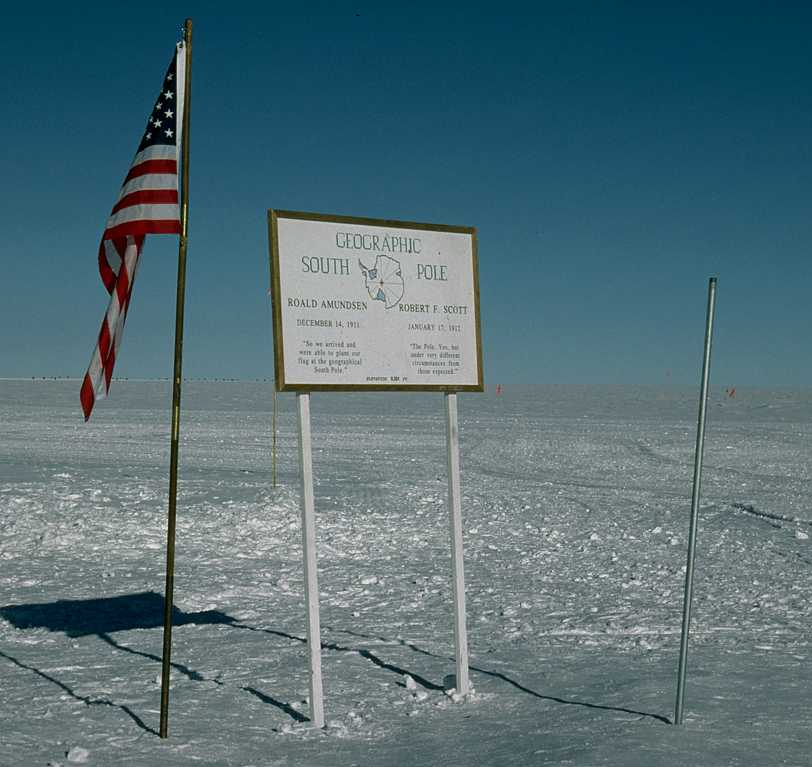 American flag on the south pole