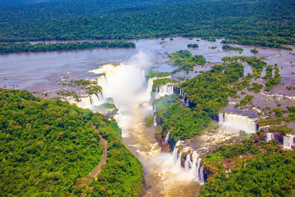 aerial view over the devils throat iguazu falls