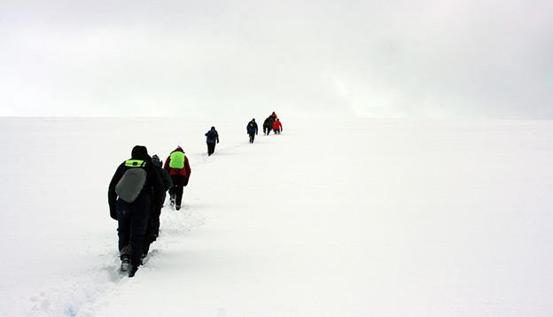 Antarctica Activities: People trekking up a mountain