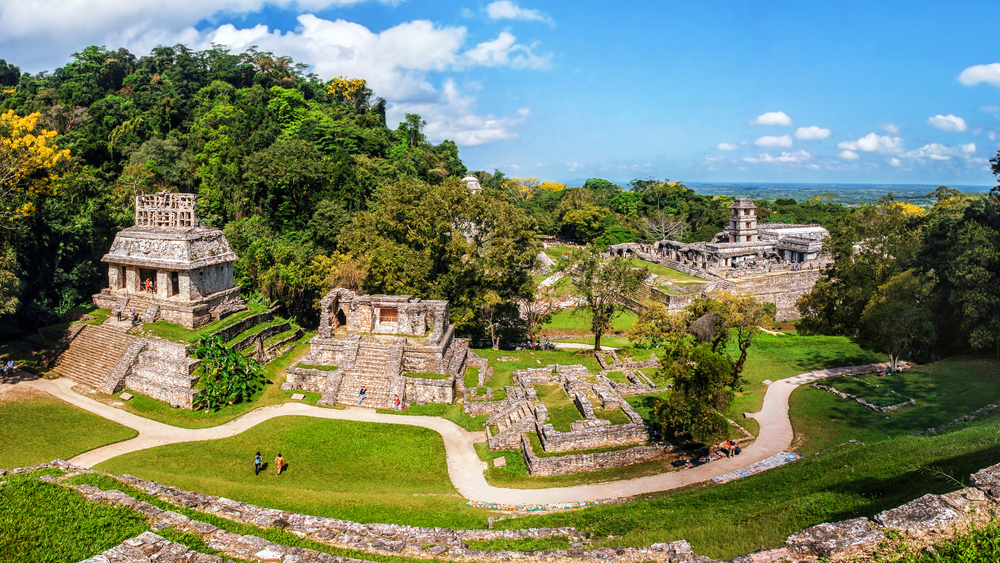 ancient mayan ruin in the forest
