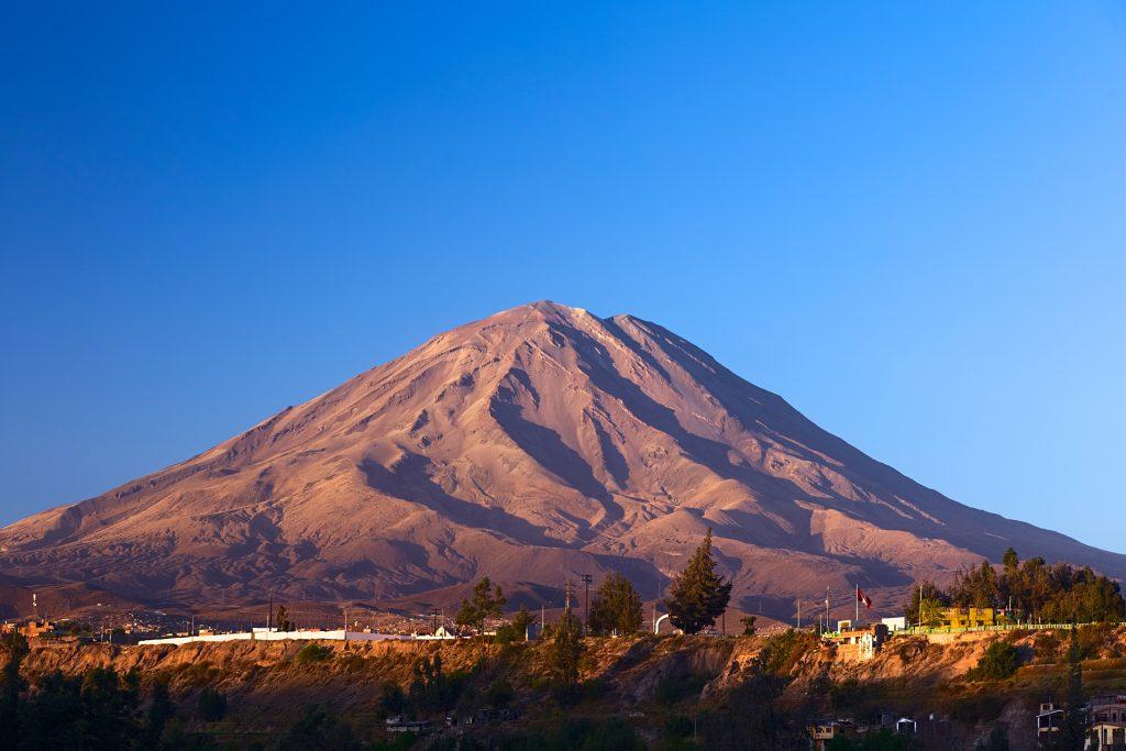 volcanoe with blue sky peru