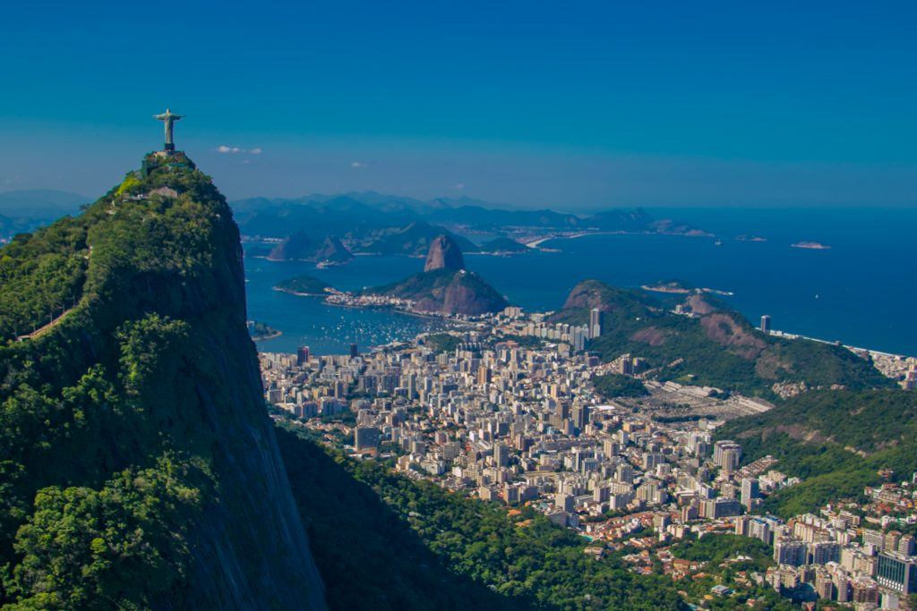 aerial view over rio with statue in front