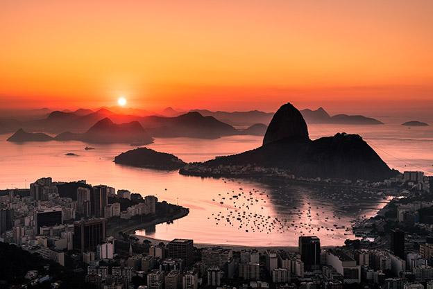 Sunsets over Rio de Janiero, Brazil