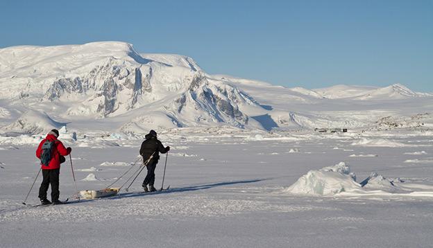 People ski in Antarctica