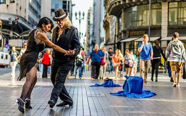 A couple tango on the street in Buenos Aires, Argentina