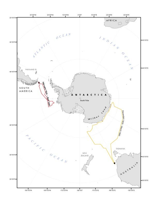 map of the two voyages to antarctica under the command of Charles Wilkes