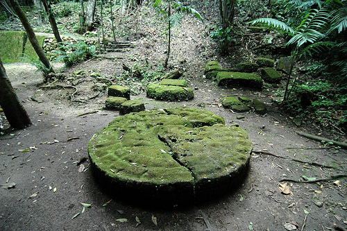 ancient mayan ruin in forest guatemala