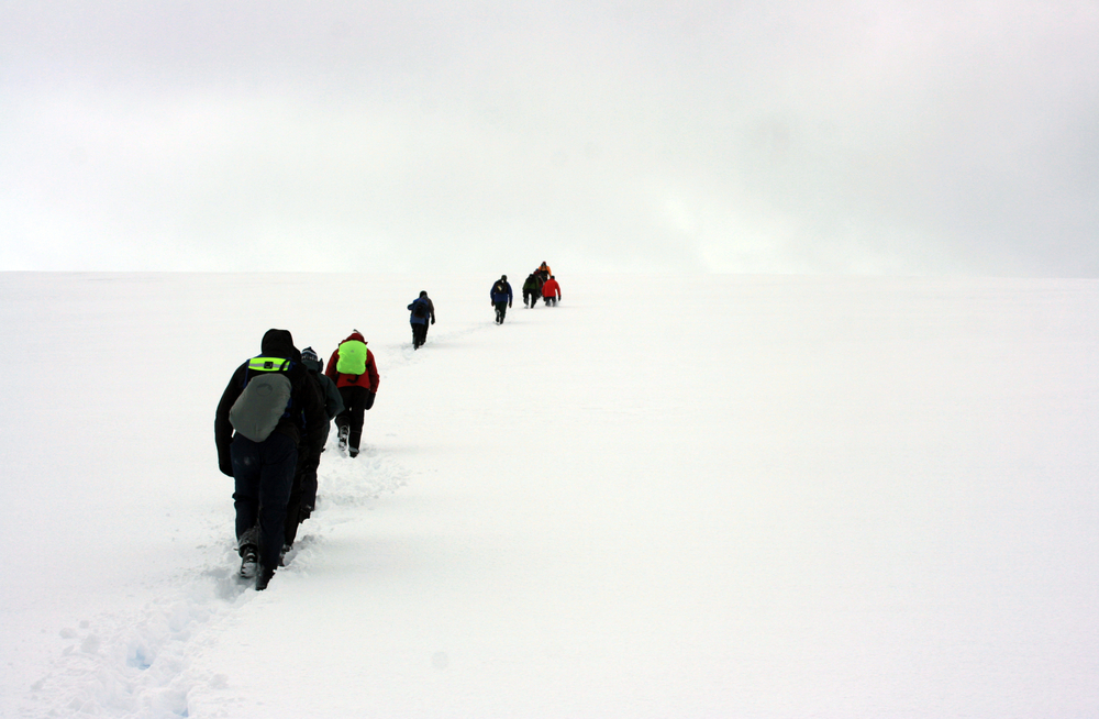 walkers walking through the snow in antarctica