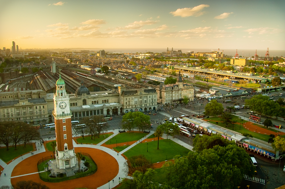 aerial view over buenos aires with park