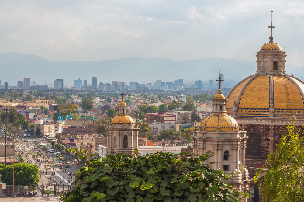 cathedral and aerial overview over mexico city