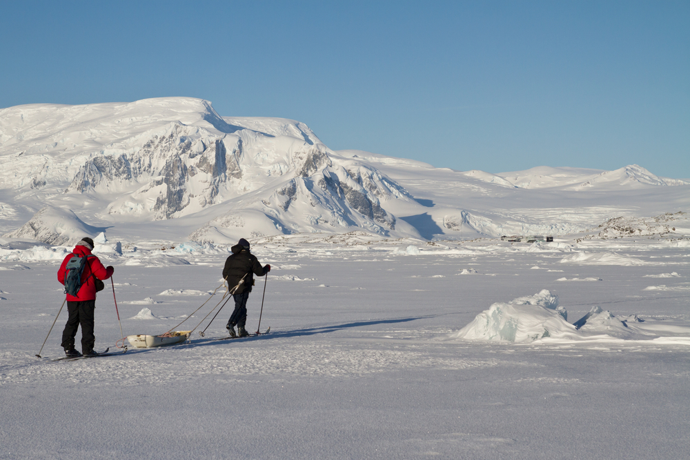 cross country skieers in antarctica