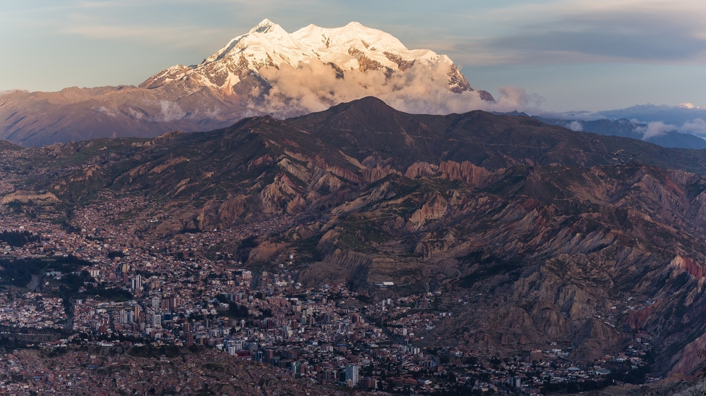 aerial view over the city of la paz between the mountains bolivia