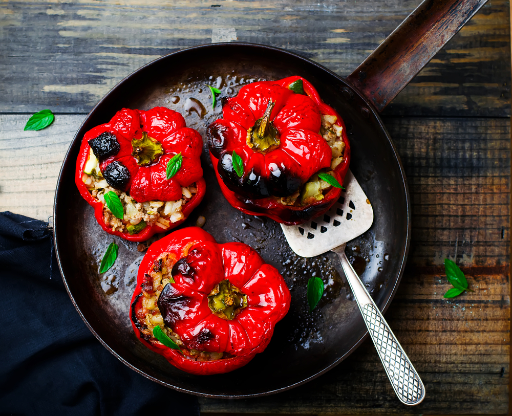 stuffed peppers in frying pan