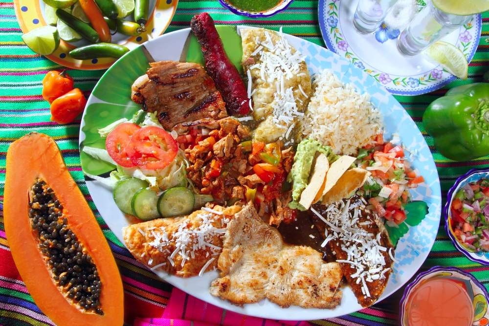 assortiment of mexican food on a plate