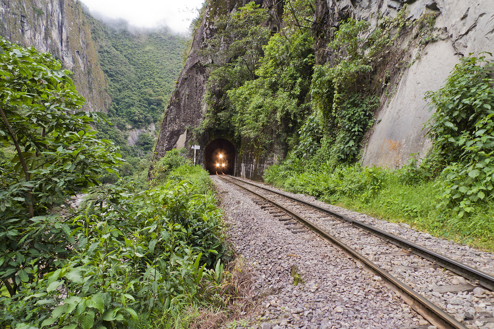 Train from Agua Calientes to Machu Picchu.