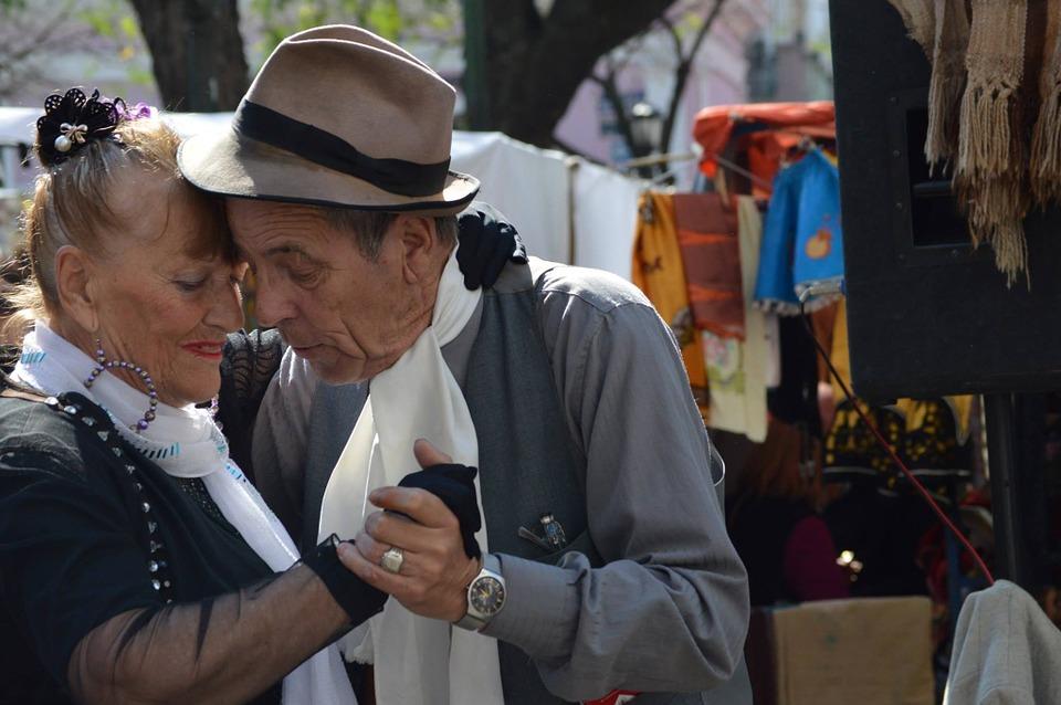Latin America old couple dancing tango