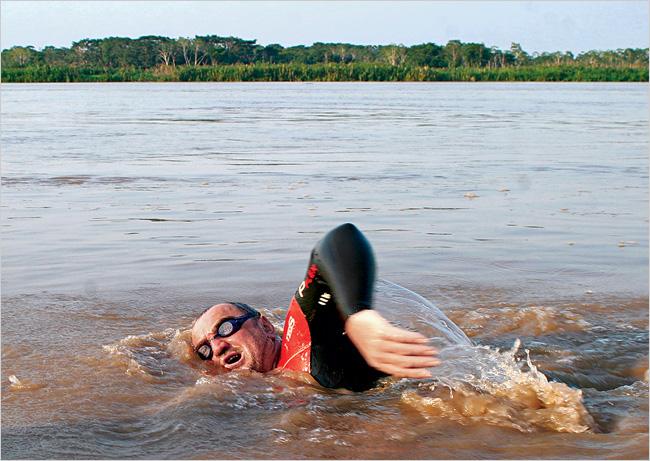 Martin Strel swimming in the Amazon