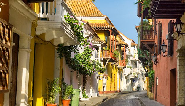colonial street in Cartagena, Colombia