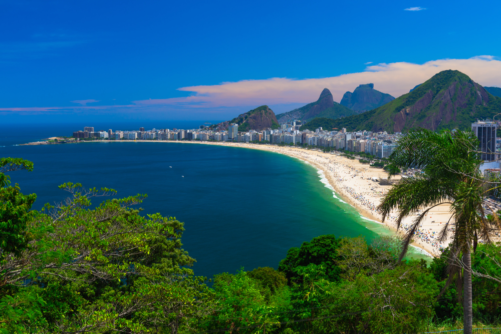 Copacabana Beach. aerial view over sand beach with city skyline