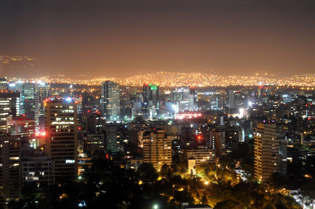 Skyline of Mexico City by night.