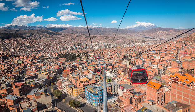 Panoramic view of La Paz in Bolivia