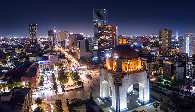 An aerial view of Mexico City at night.