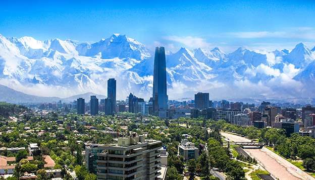 The cityscape of Santiago with the Andes in the background