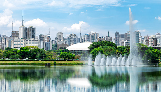water fountains in Ibirapuera Park in Sao Paulo, Brazil
