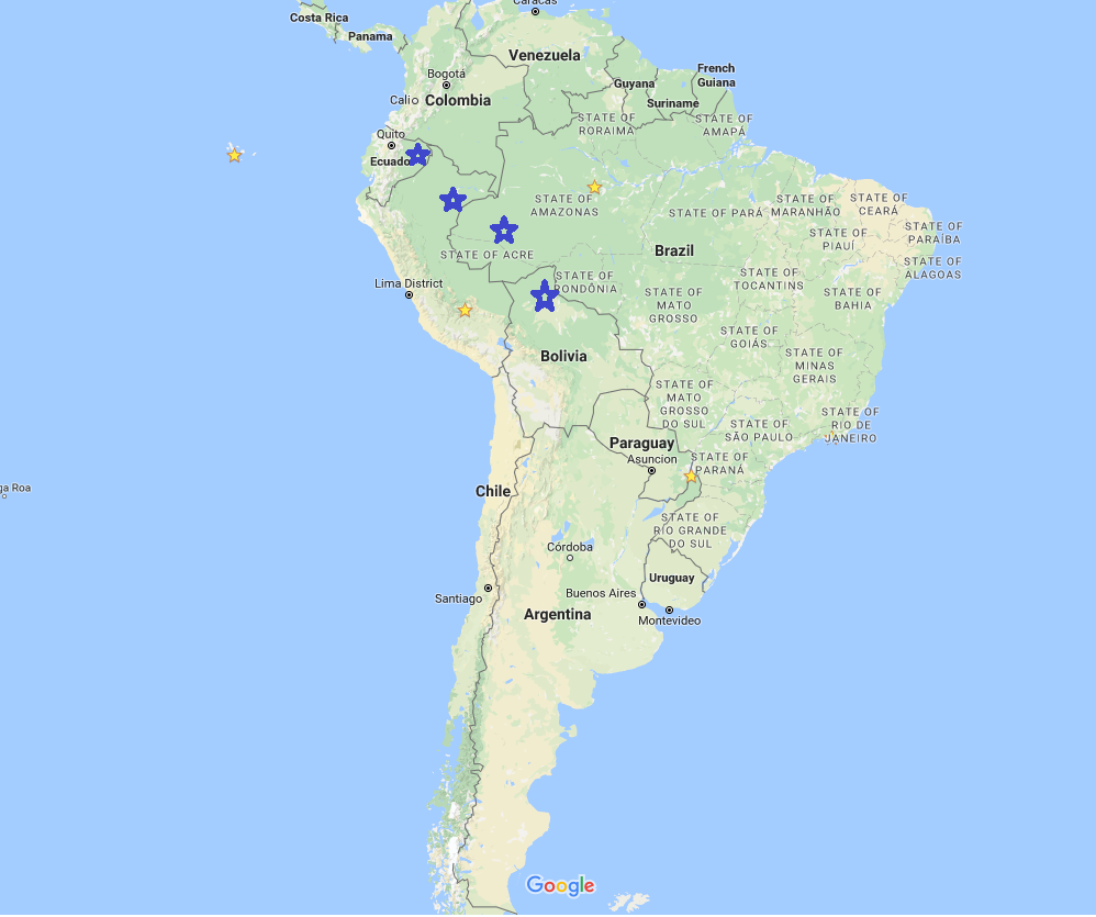Map of South America's Big Five