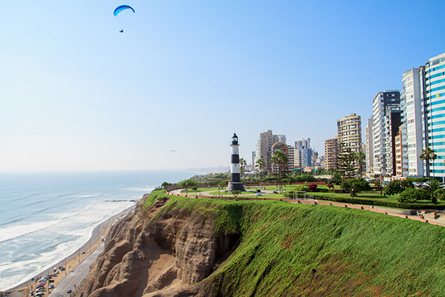 A view of the coast in Miraflores, Lima, Peru