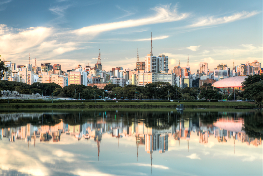South America - Skyline of Sao Paulo reflecting in water