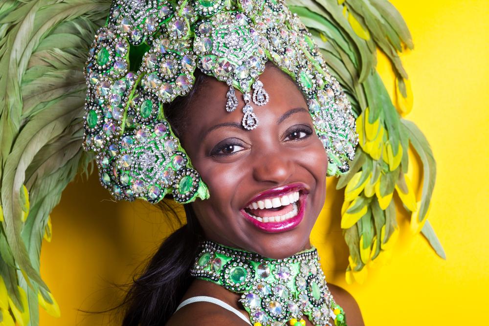 A Brazilian woman wearing a Samba costume