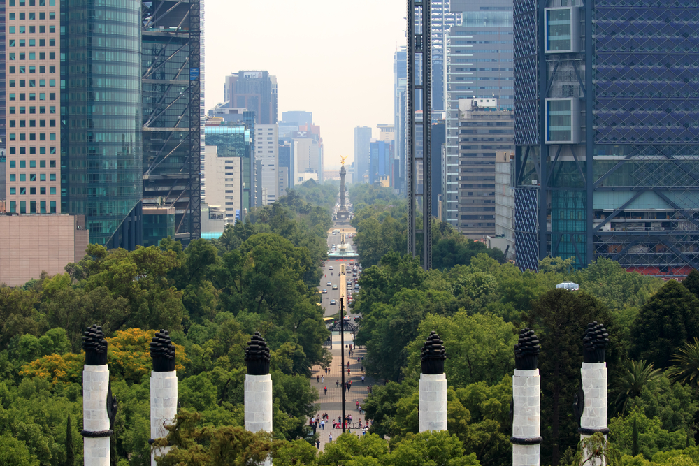 skyline of Mexico City. with trees and street