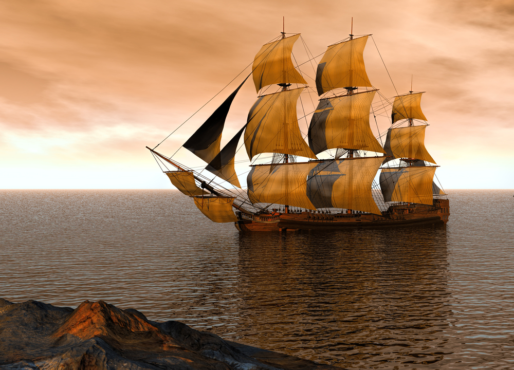 Old Spanish galleons.
