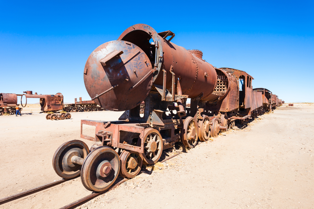 A collection of abandoned tracks and wagons