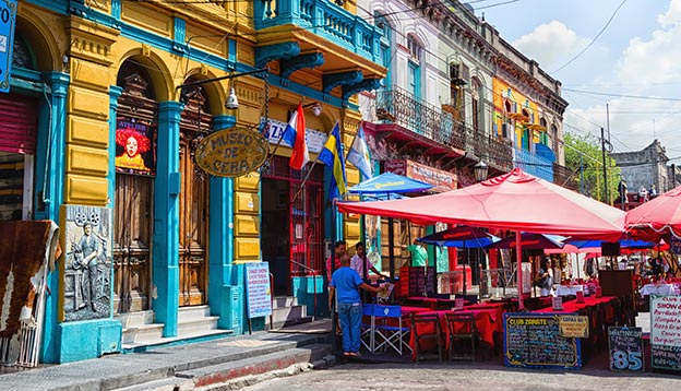 A photo of colourful buildings and restaurants in Recoleta, Buenos Aires, Argentina
