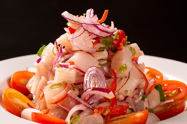 Seafood ceviche, close up of a typical dish from Peru
