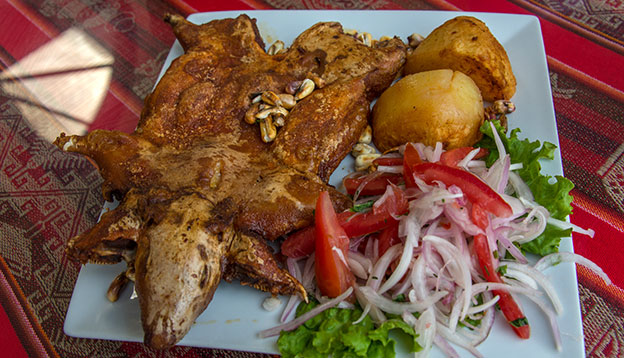Roasted guinea pig, traditional meal in Peru